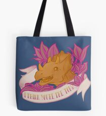 Punny Triceratops Loves You Tote Bag