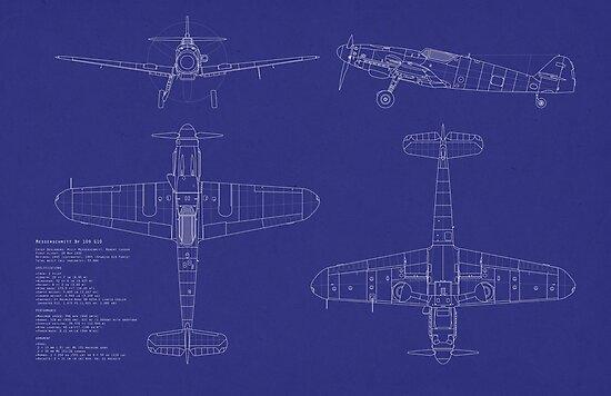 Messerschmitt ME109 Blueprint by Michael Tompsett