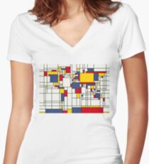 World Map Abstract Mondrian Style Women's Fitted V-Neck T-Shirt