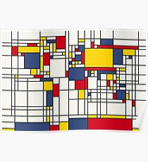 World Map Abstract Mondrian Style Poster