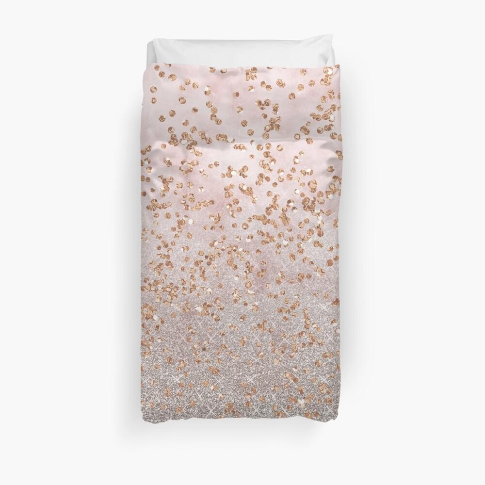 Mixed rose gold glitter gradients Duvet Cover