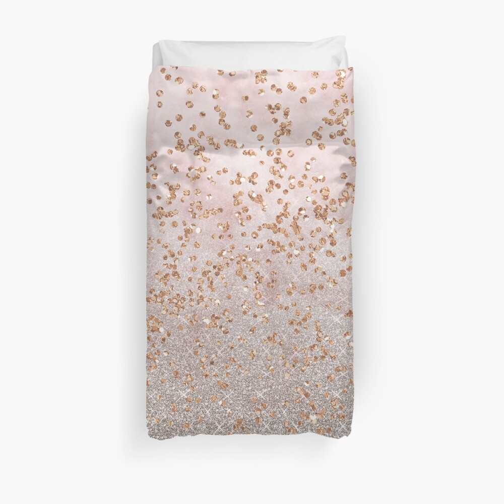 Mixed rose gold glitter gradients Duvet Cover