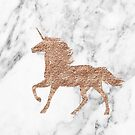 Rose gold marble unicorn by peggieprints