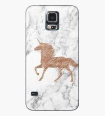 Rosen-Goldmarmor-Einhorn Hülle & Skin für Samsung Galaxy