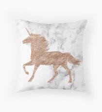 Rose gold marble unicorn Throw Pillow