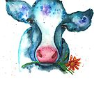 Summer Watercolor Cow with Daisy by Jeri Stunkard