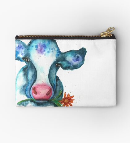 Summer Watercolor Cow with Daisy Studio Pouch