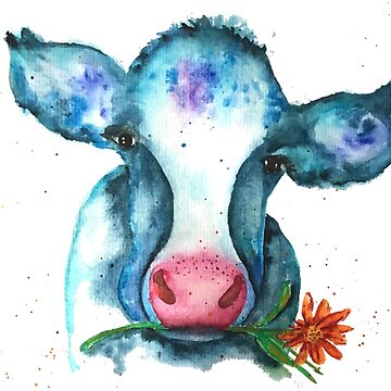 Summer Watercolor Cow with Daisy by jstunkard