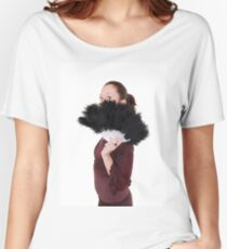 young Gothic teen hiding behind a black feathered fan - Model Release Available Women's Relaxed Fit T-Shirt