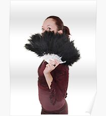 young Gothic teen hiding behind a black feathered fan - Model Release Available Poster