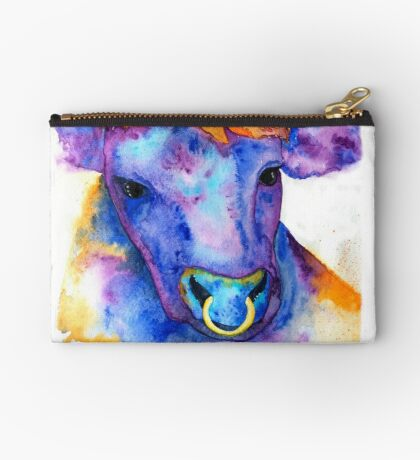 Watercolor Purple Bull with Nose Ring, Jules Studio Pouch