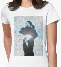 young Gothic teen hiding behind a black feathered fan Women's Fitted T-Shirt