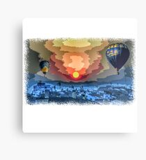 Pixel graphic with balloons at night Metal Print