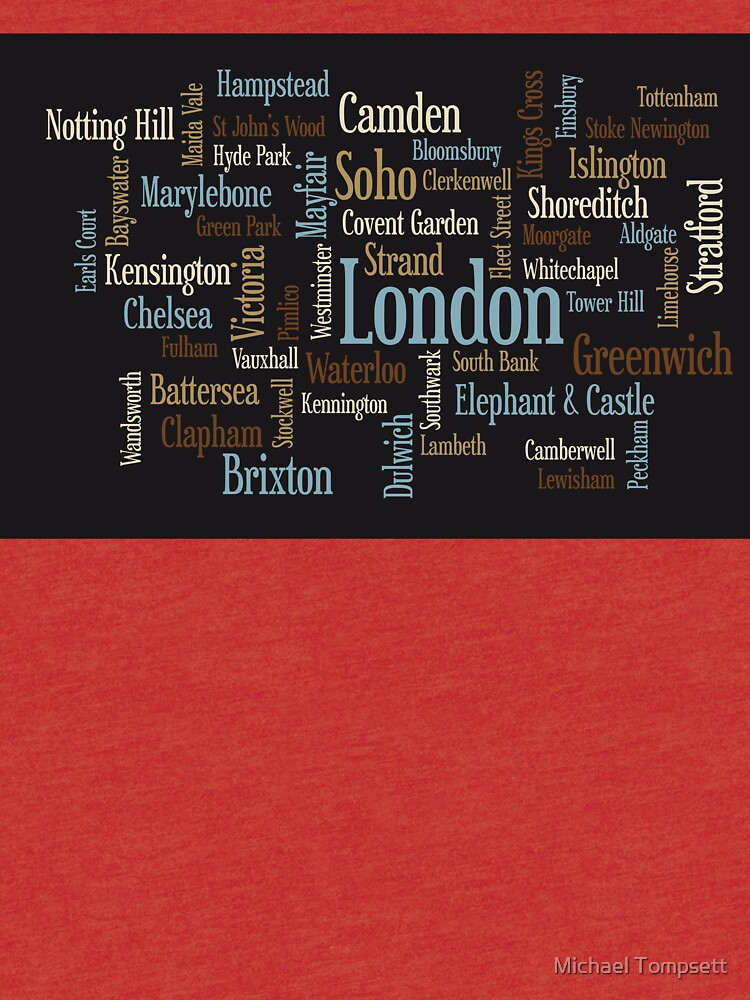 London Text typografische Karte von ArtPrints
