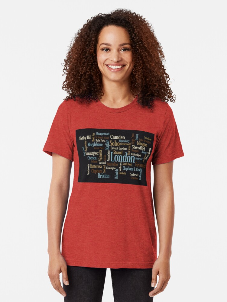Alternative Ansicht von London Text typografische Karte Vintage T-Shirt