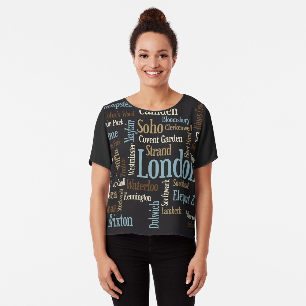 London Text typografische Karte Chiffon Top