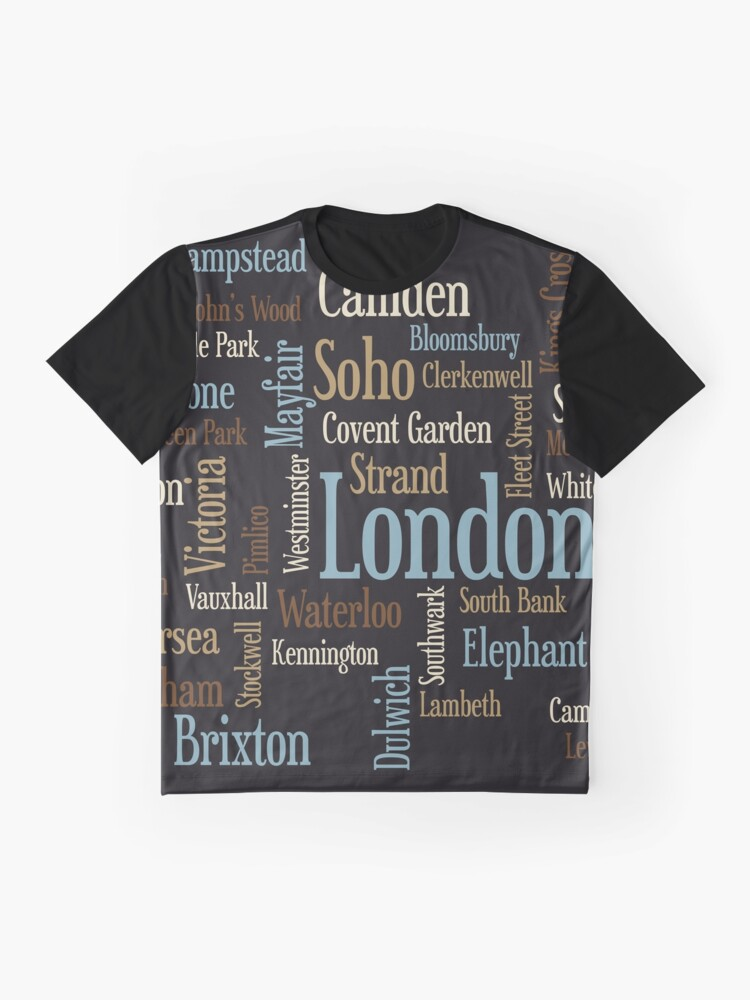 Alternative Ansicht von London Text typografische Karte Grafik T-Shirt