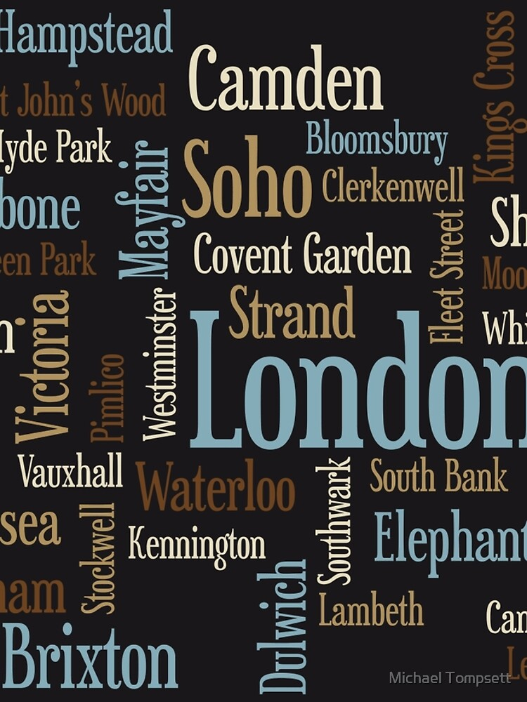 London Text typografische Karte von ArtPrints