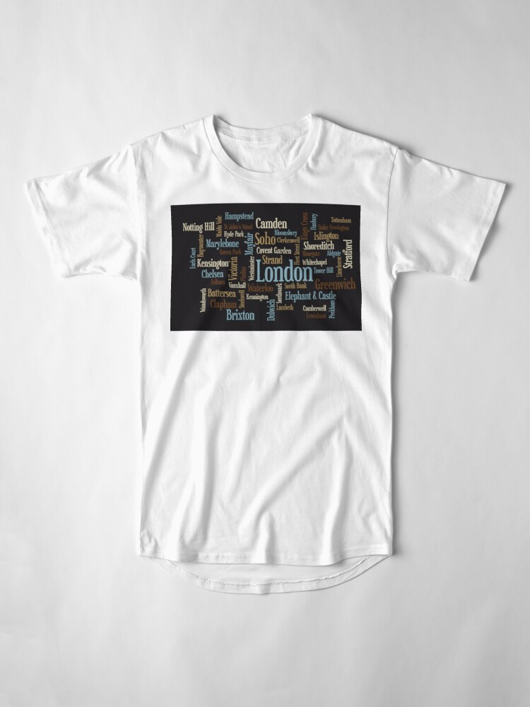 Alternative Ansicht von London Text typografische Karte Longshirt