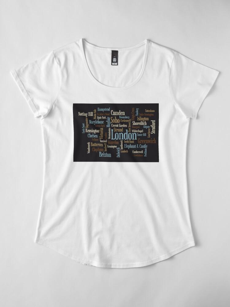 Alternative Ansicht von London Text typografische Karte Premium Rundhals-Shirt