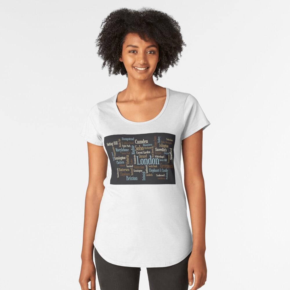 London Text typografische Karte Premium Rundhals-Shirt