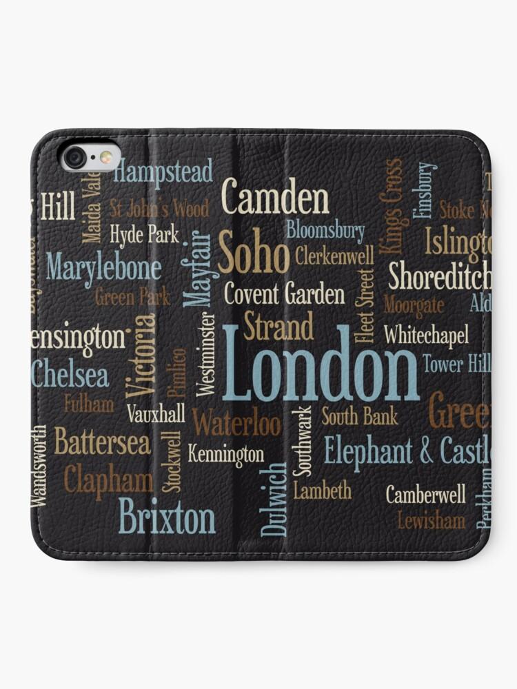 Alternative Ansicht von London Text typografische Karte iPhone Flip-Case