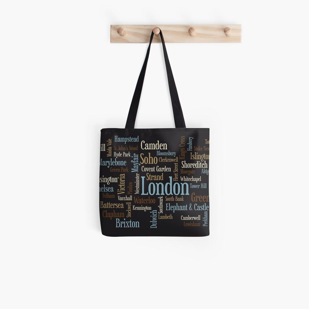 London Text typografische Karte Stofftasche