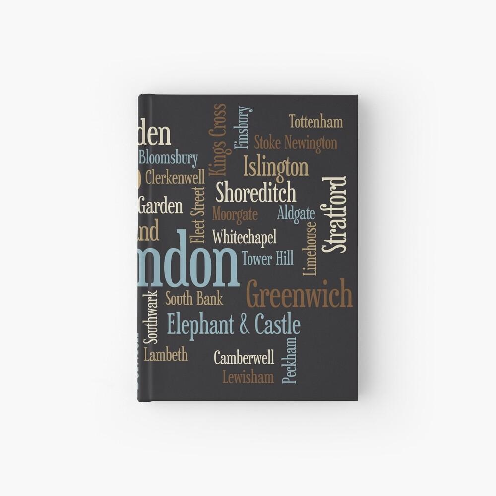 London Text typografische Karte Notizbuch