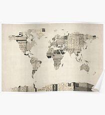 Karte der Weltkarte von alten Postkarten Poster
