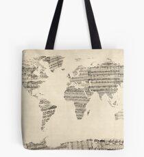 Karte der Weltkarte aus alten Noten Tasche