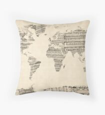 Map of the World Map from Old Sheet Music Floor Pillow