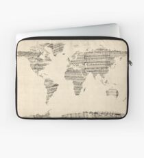 Map of the World Map from Old Sheet Music Laptop Sleeve