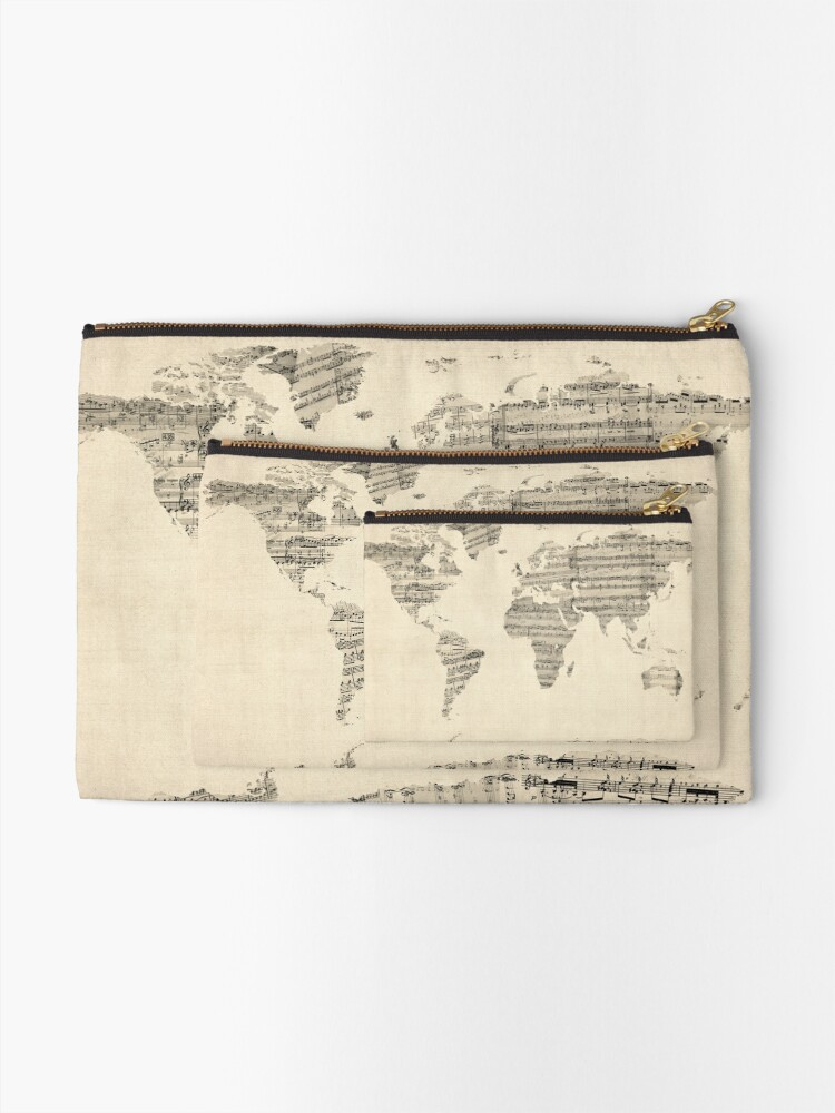 Alternate view of Map of the World Map from Old Sheet Music Zipper Pouch