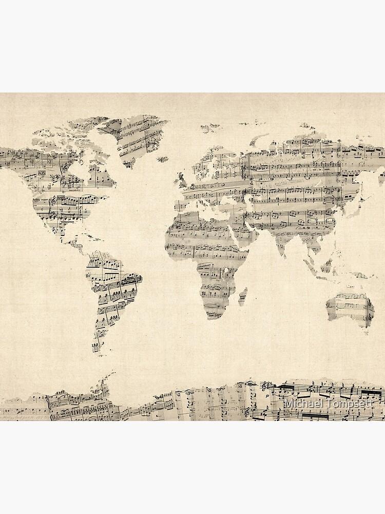 Karte der Weltkarte aus alten Noten von ArtPrints