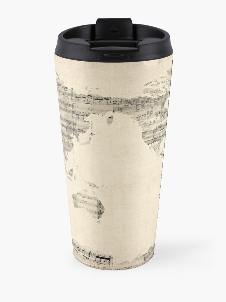 Alternate view of Map of the World Map from Old Sheet Music Travel Mug