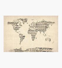 Karte der Weltkarte aus alten Noten Fotodruck