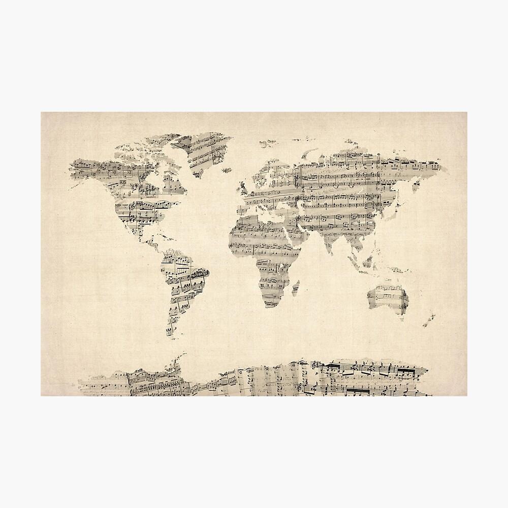 Mapa del mapa mundial de Old Sheet Music Lámina fotográfica