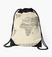Map of the World Map from Old Sheet Music Drawstring Bag