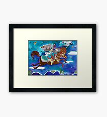 ORIENTAL FAIRY TALE Princess.Prince and White Rabbit Flying On Golden Horse in the Night Framed Print