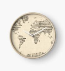 Map of the World Map from Old Sheet Music Clock