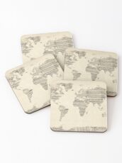 Map of the World Map from Old Sheet Music Coasters