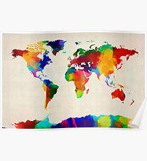 Póster Mapa de la pintura del mapa mundial