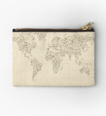 Music Notes Map of the World Studio Pouch