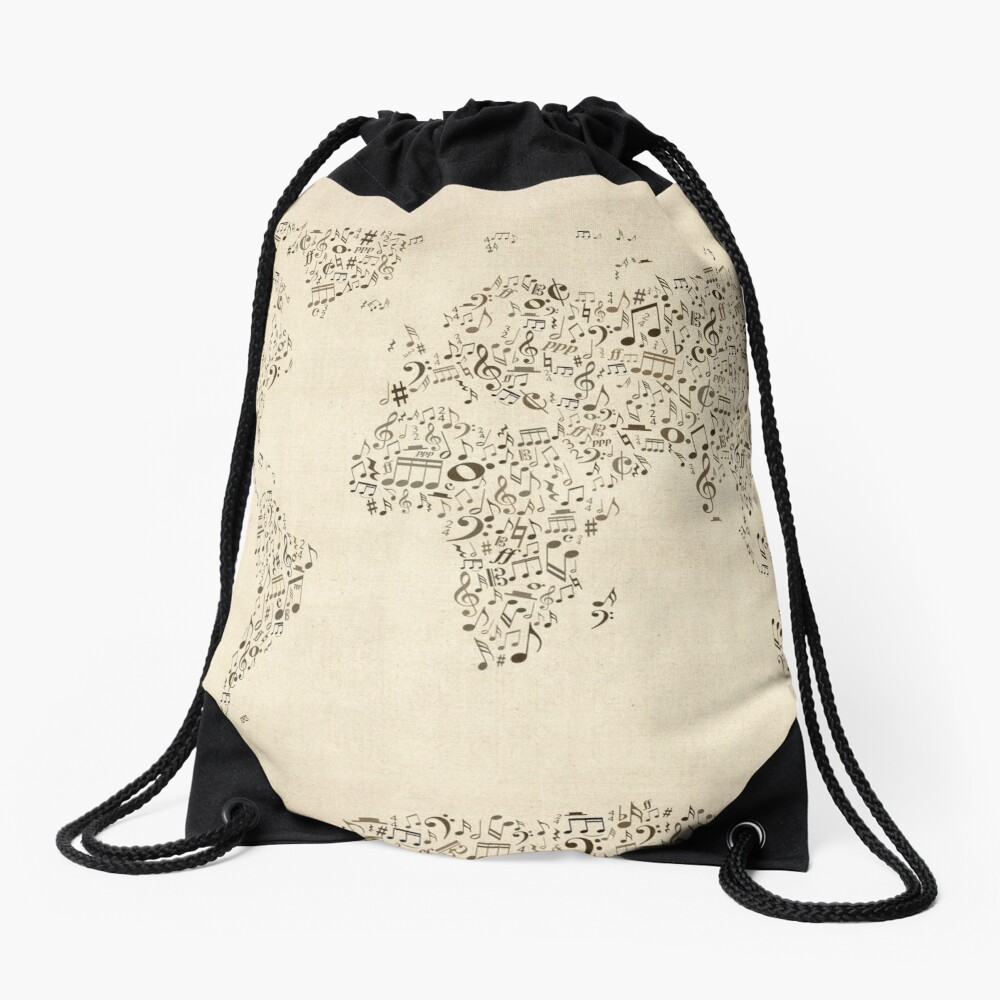 Music Notes Map of the World Drawstring Bag