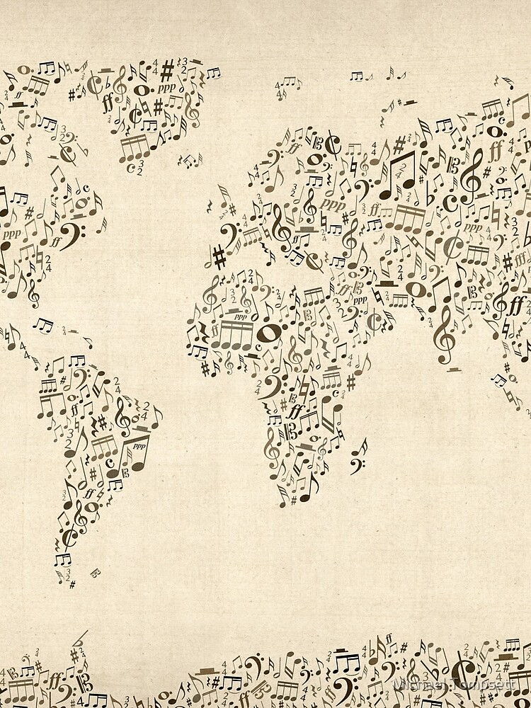 Music Notes Map of the World by ArtPrints