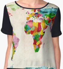 World Map Watercolors Chiffon Top