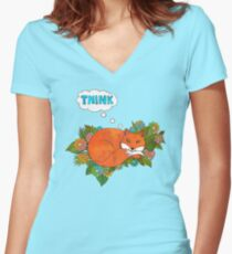 Think Outside the Fox Women's Fitted V-Neck T-Shirt