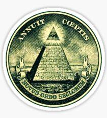 All seeing eye, pyramid, dollar, freemason, god Sticker