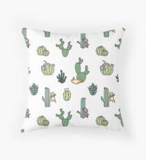 Cacti Cats Throw Pillow
