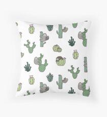 Cacti Sloths Throw Pillow